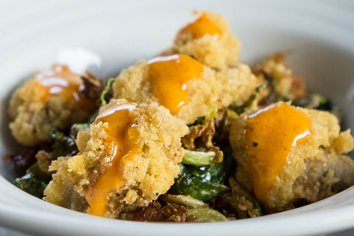 Crispy Fried Oysters & Brussels sprouts at Field & Tides