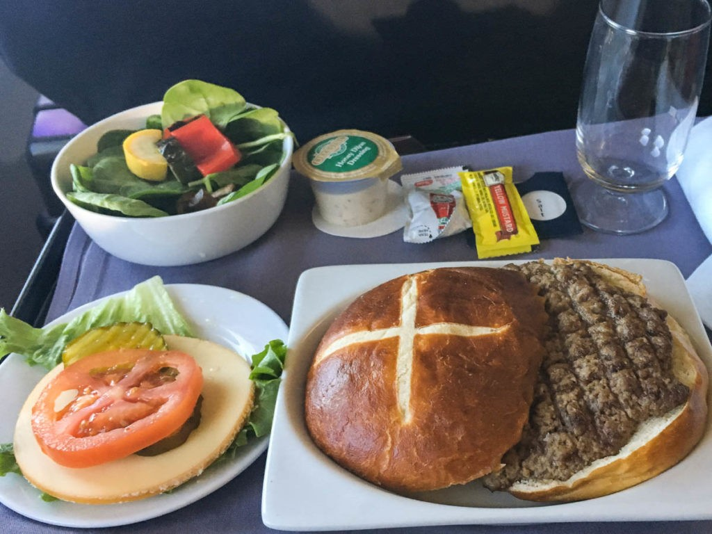 United Airlines burger meal