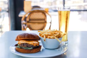 burger and fries at Brasserie du Parc