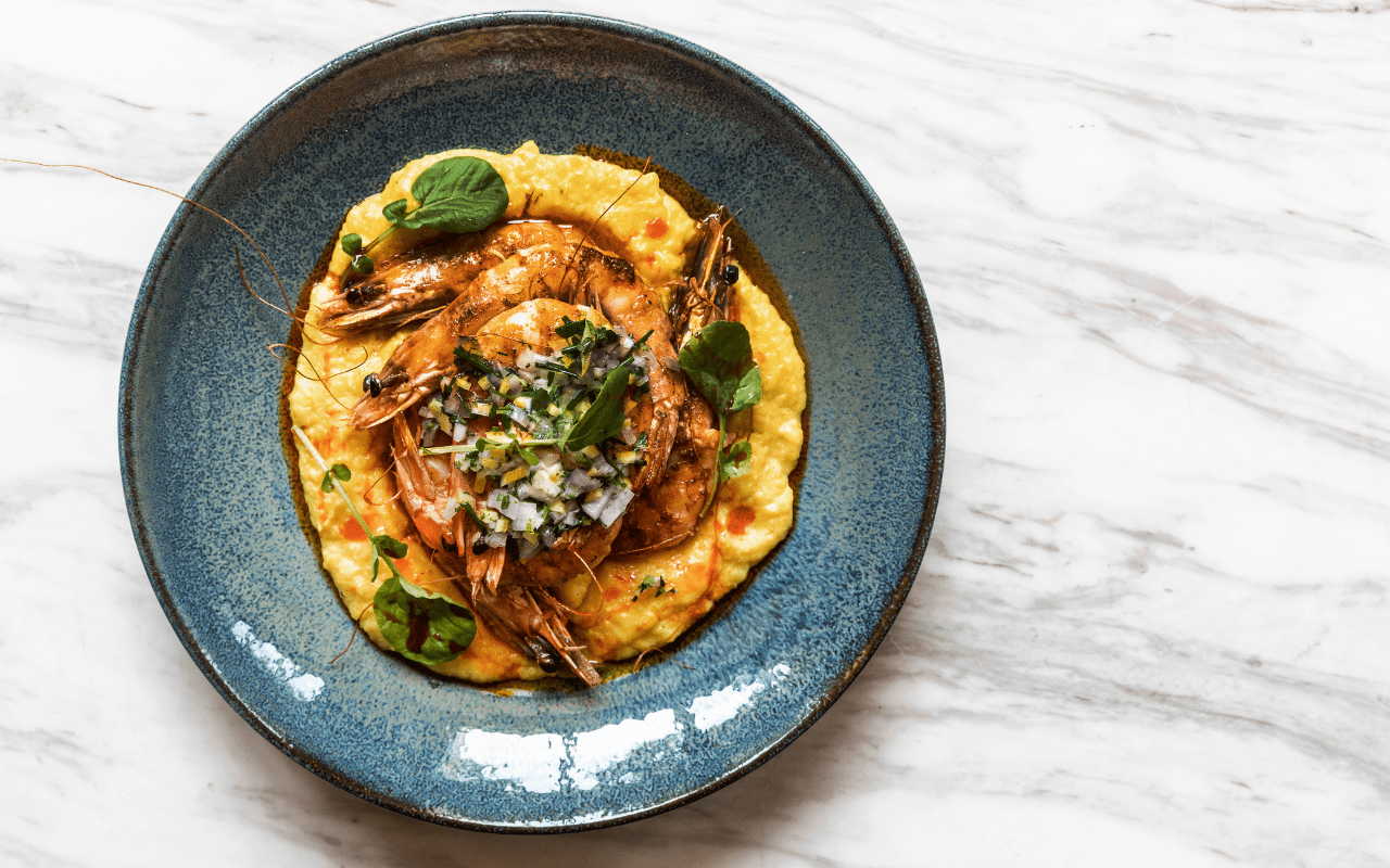 prawns and polenta at TRIS