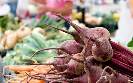 Fresh beets, carrots, and turnips at the Urban Harvest Saturday Farmers Market.
