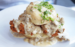Biscuit stuffed with fried chicken and gravy