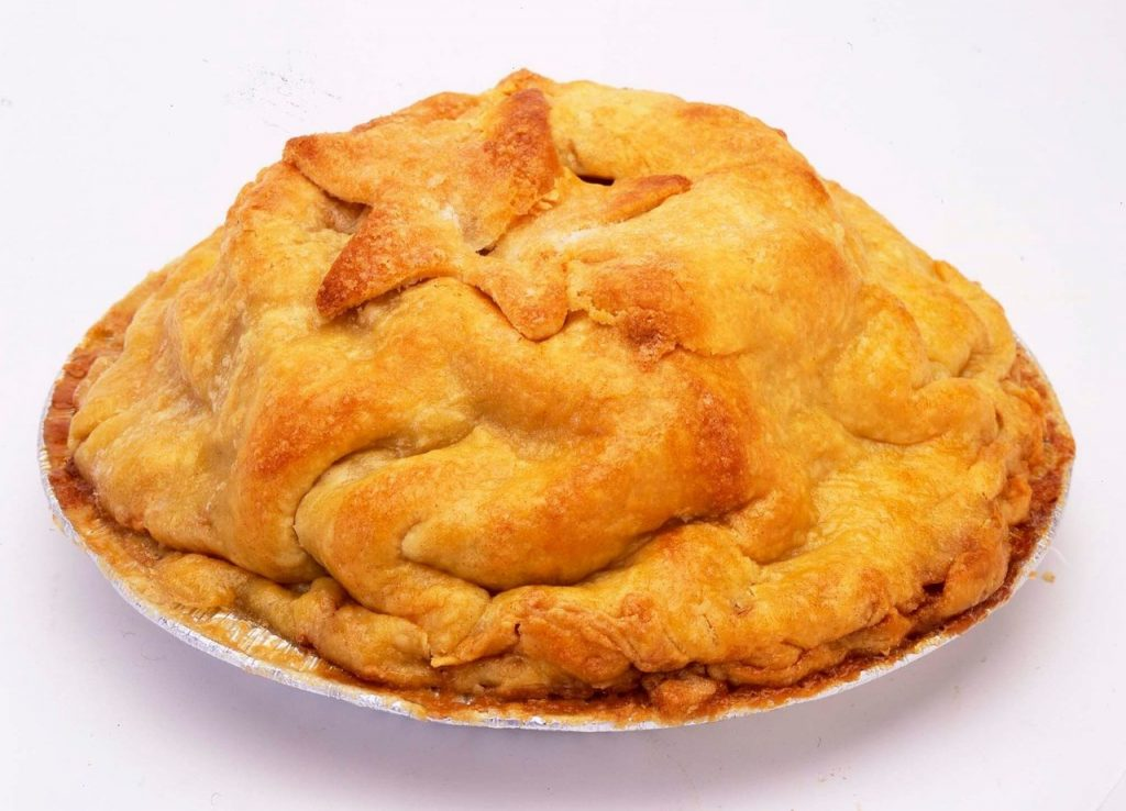 Photo of a big apple pie.