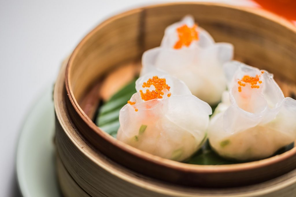Lobster dumplings with tobiko caviar at Yauatcha