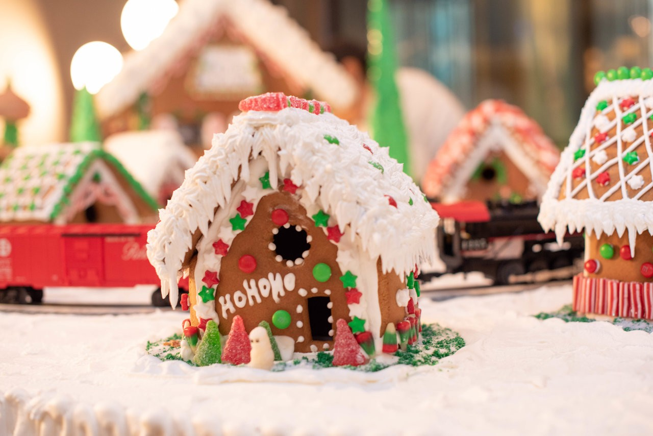 Picture of a gingerbread village.