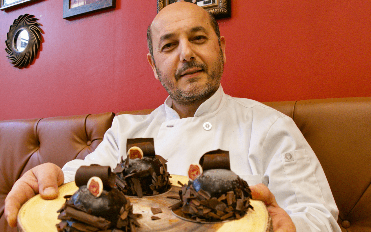 Dany Srour of Delices de Maurice with Dark Chocolate Domes