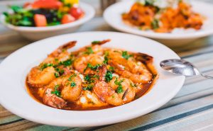 Treebeards barbecue shrimp and grits