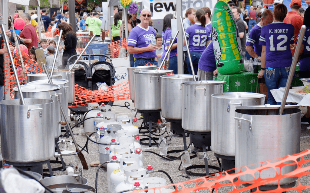 Rows of metal cooking pots