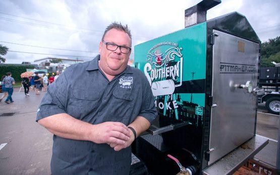 Chris Shepherd with Southern Smoke smoker