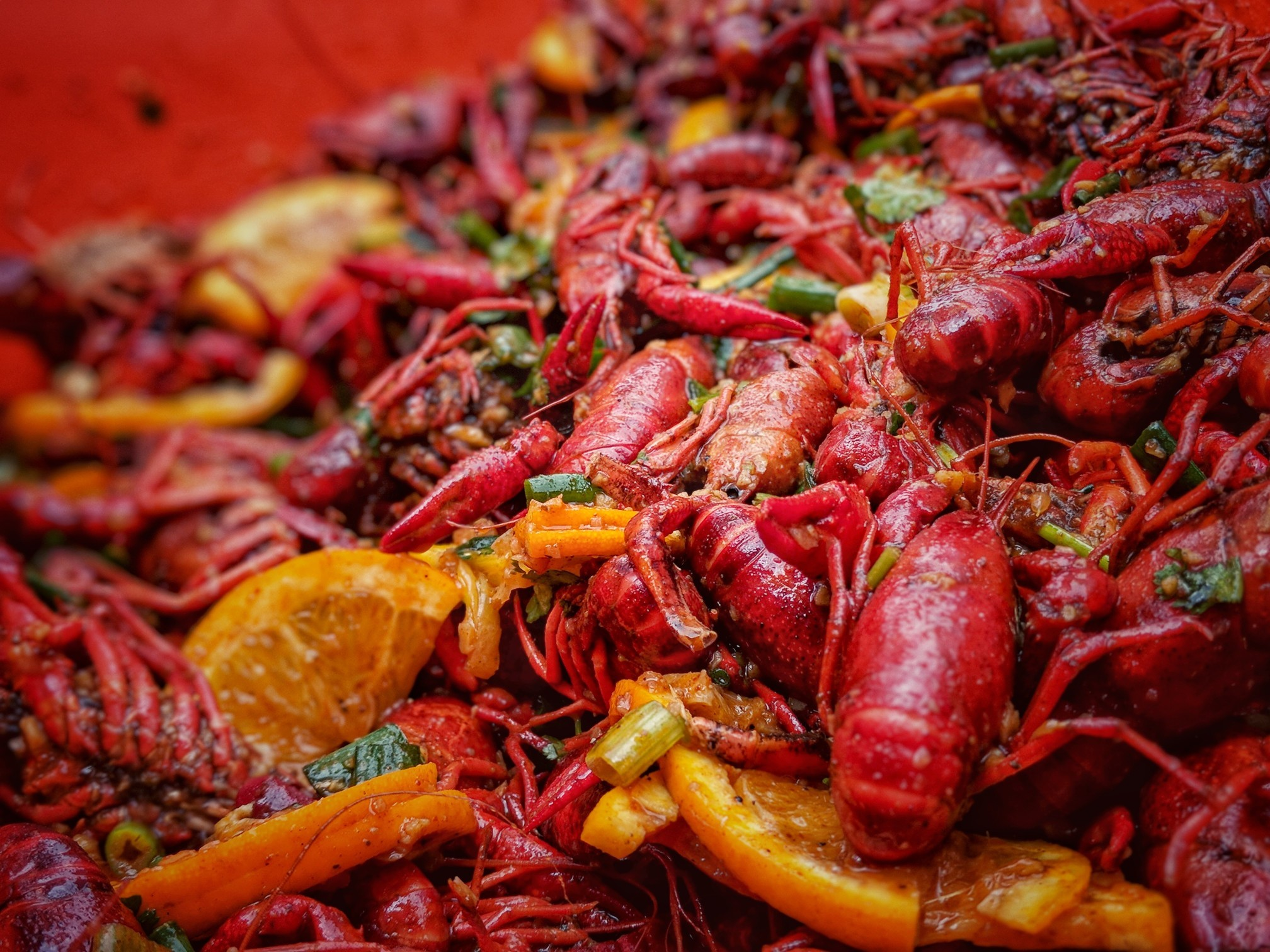 Close-up of cooked crawfish with lots of seasonings