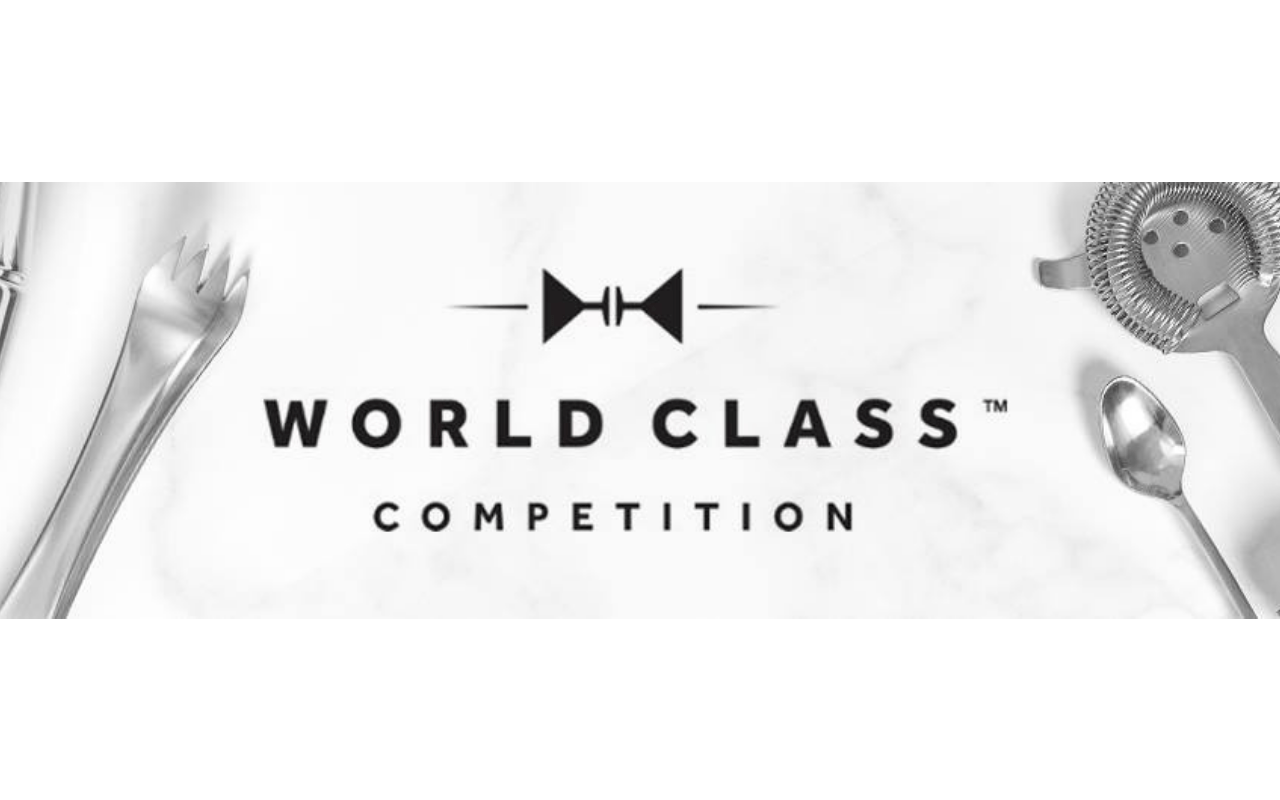 "White background with black text ""World Class Competition"" and images of cocktail utensils"