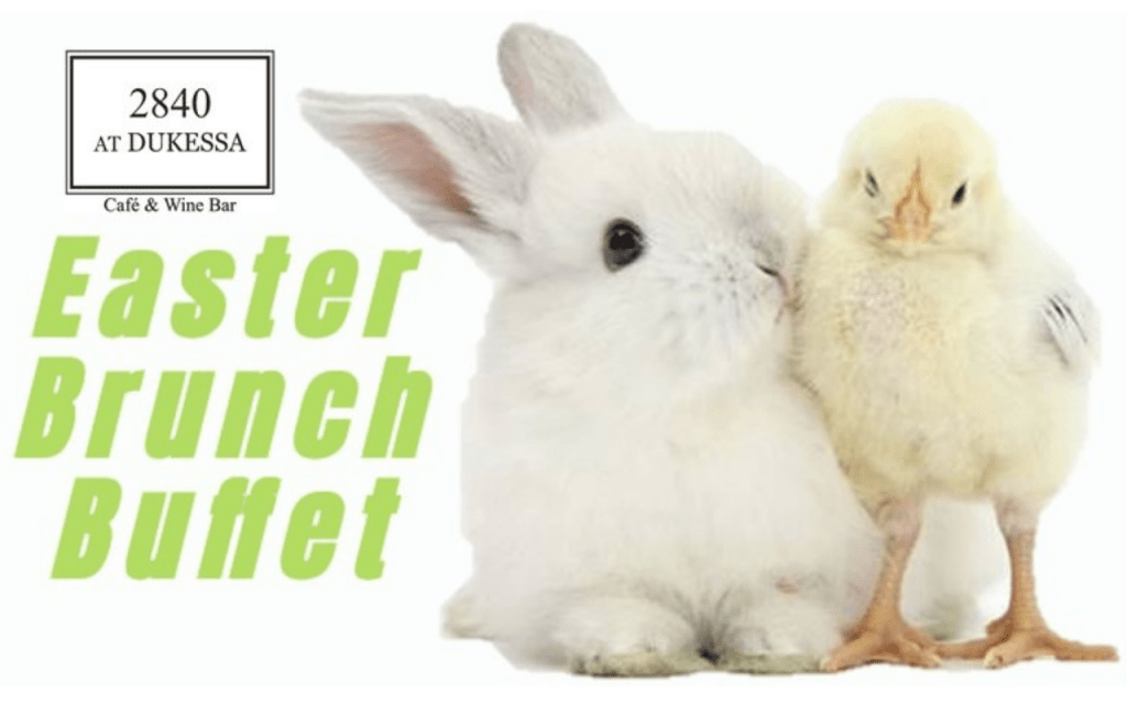 """Text """"Easter Brunch Buffet"""" in green with picture of white rabbit and chick."""
