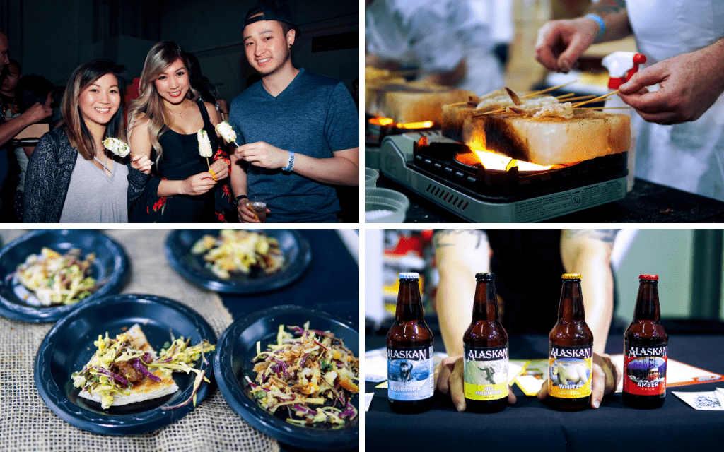 Four photos: Three people enjoying an appetizer, shrimp cooking on a salt block, food sample, bottles of Alaskan beer
