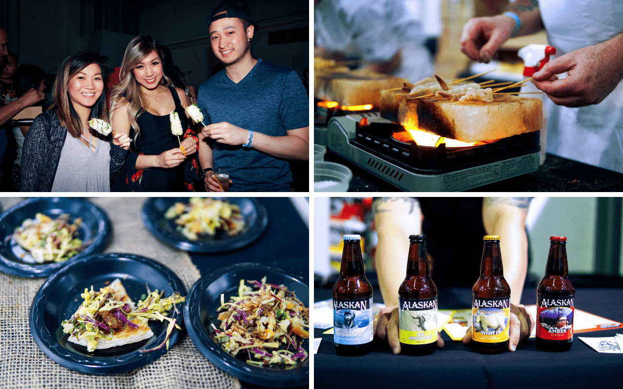 Four photos: Three people enjoying an appetizer, shrimp cooking on a salt block, food sample, bottles of Alaskan beer