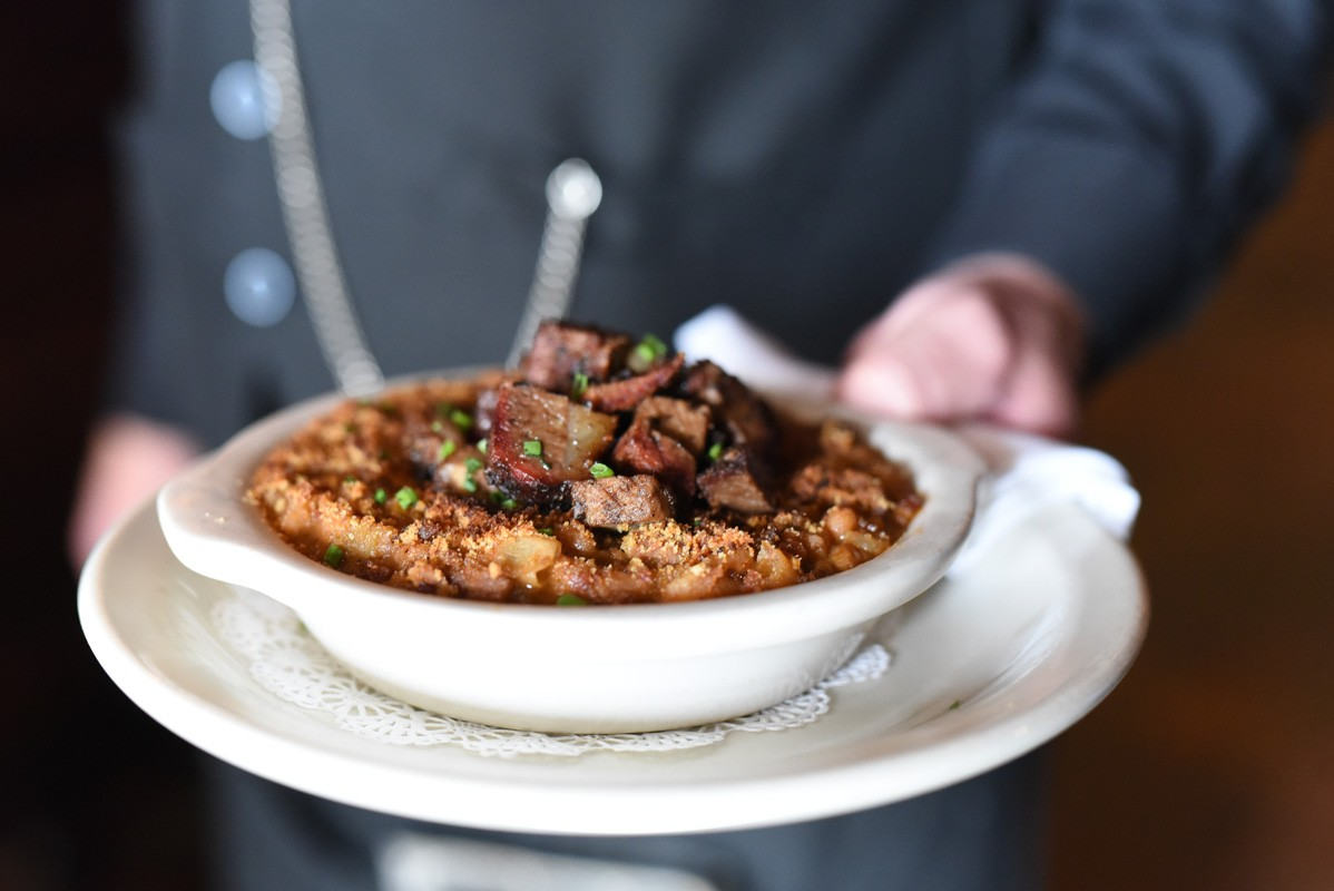 Smoked brisket and white beans at Killen's Steakhouse