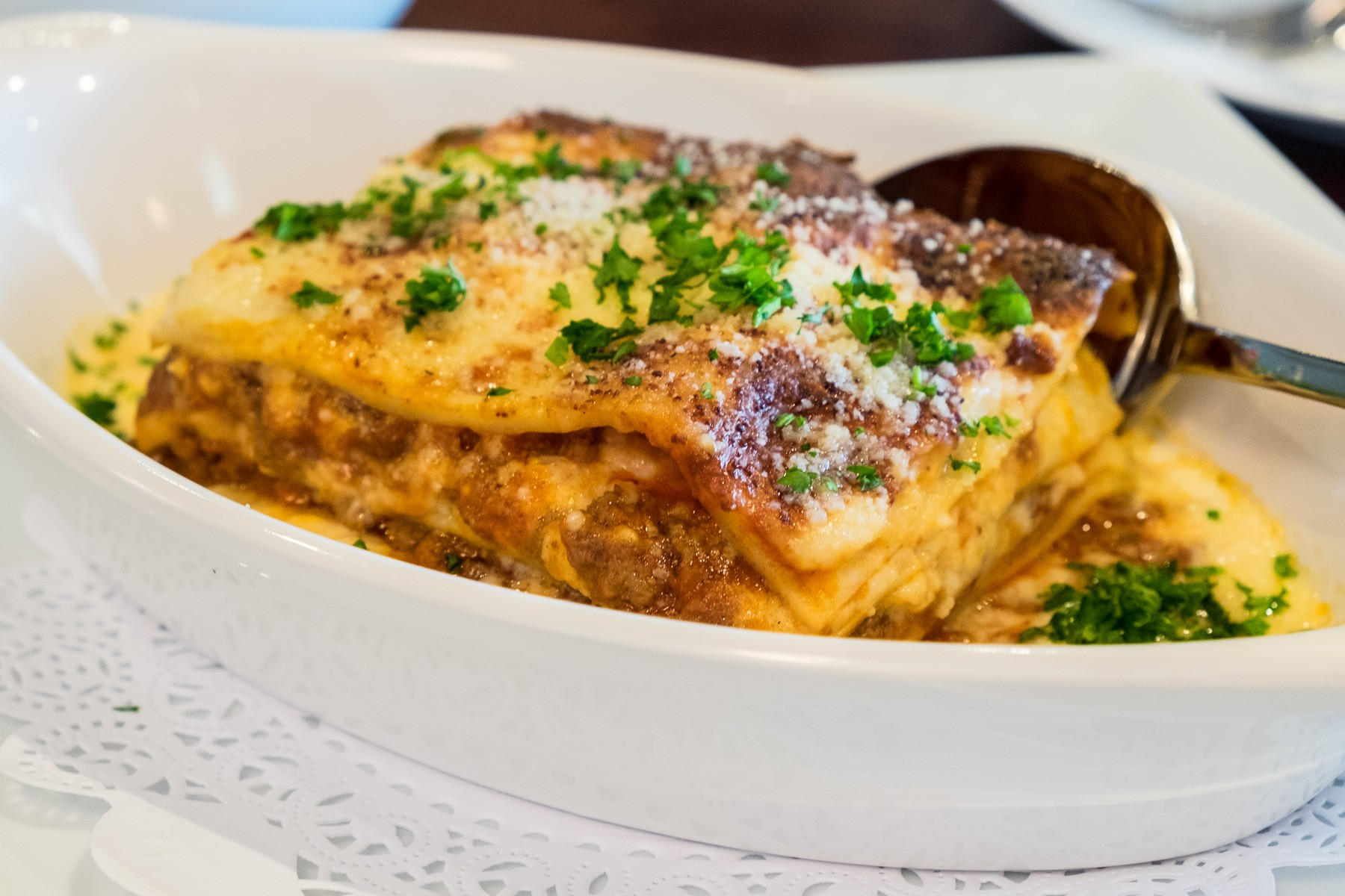lasagna at Mina