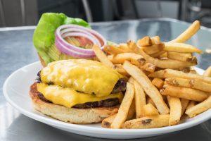 burger and fries at Harold's