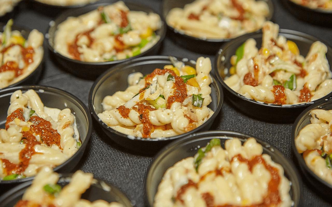 Pasta samples in small bowls