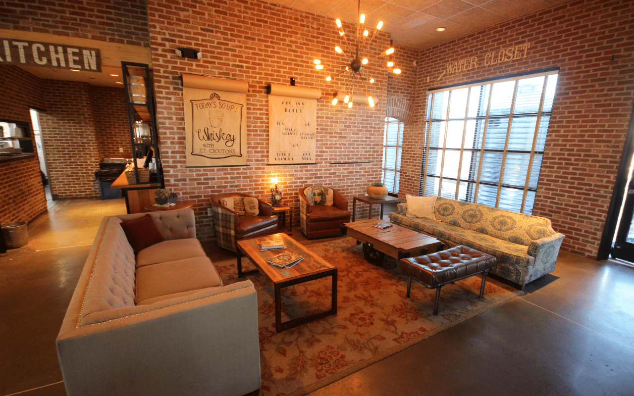 Lounge with couches and soft lighting