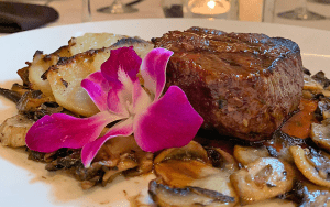 Steak with mushrooms and scalloped potatoes
