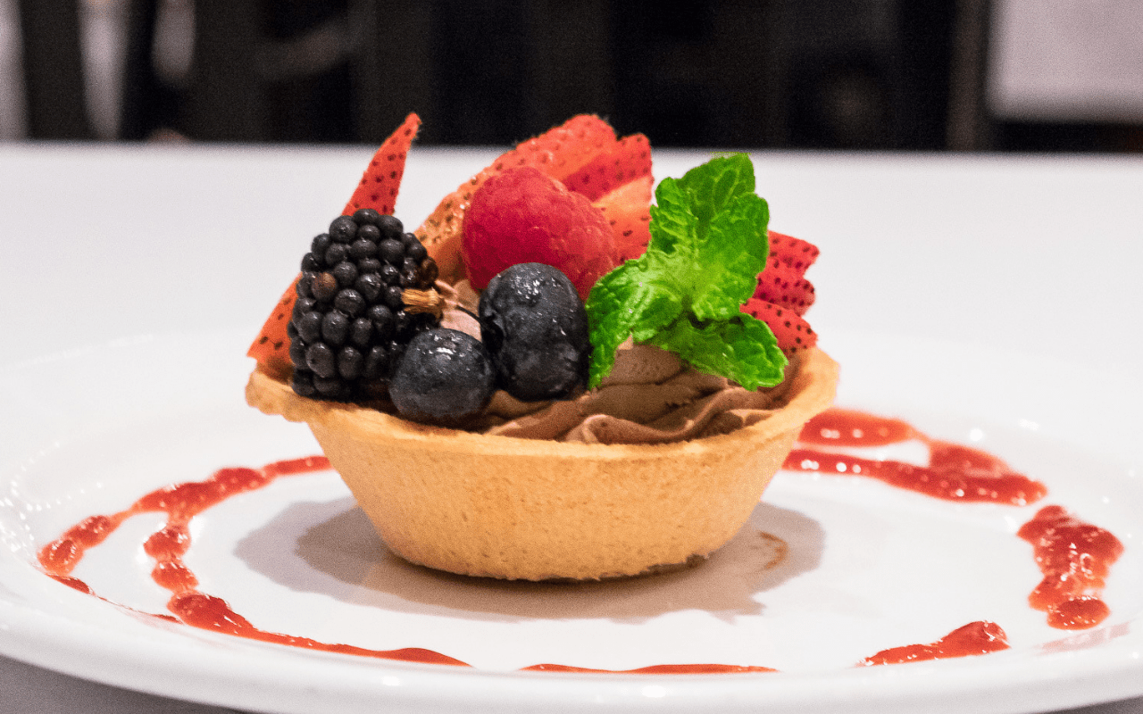Chocolate mousse torte with fruit on top