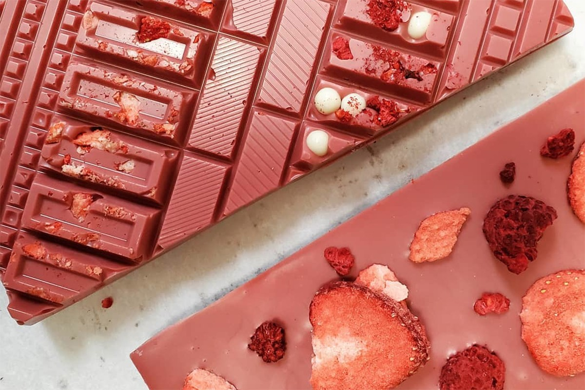 ruby chocolate bars at cacao & cardamom