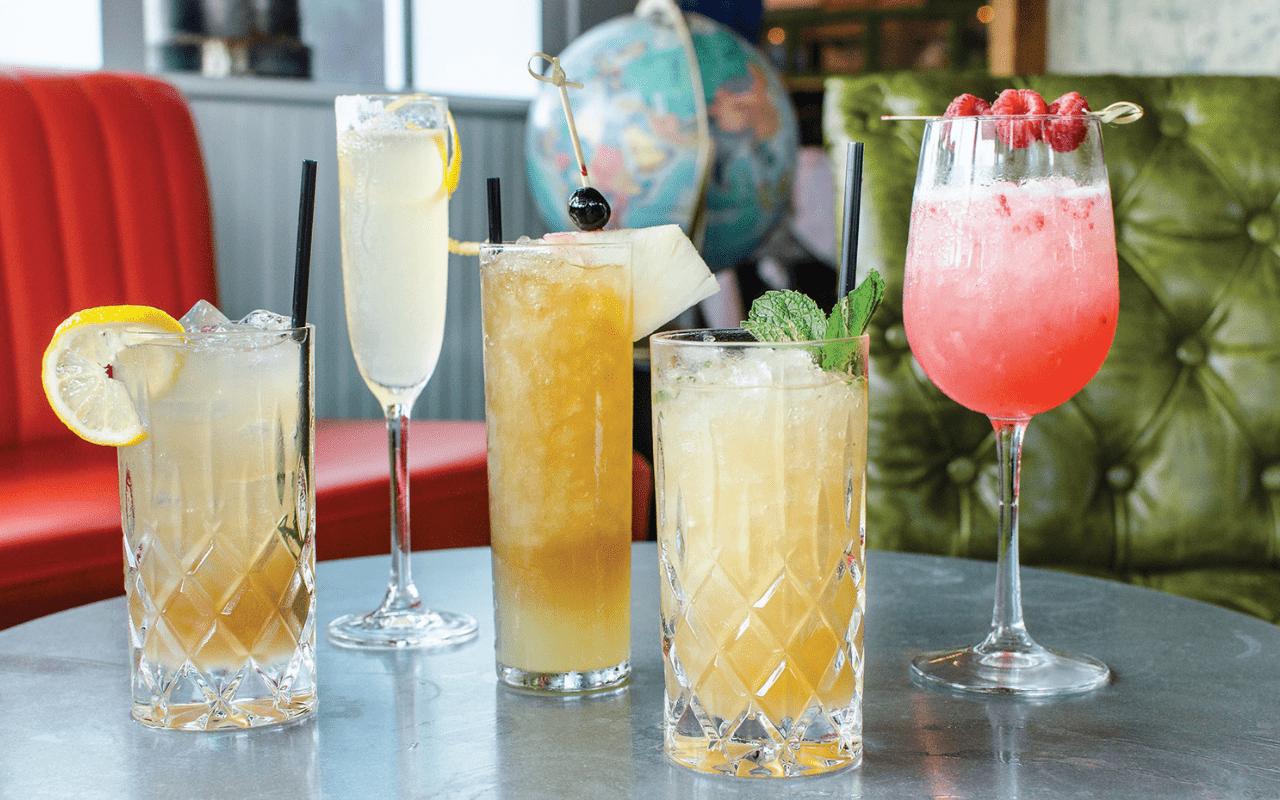Multiple cocktails in various colors