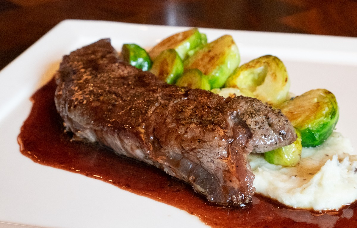 A business lunch special with beef tenderloin, Brussels sprouts and whipped potatoes at Radio Milano