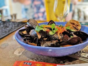 Baja Style Mussels with guajillo chile at The Toasted Coconut
