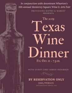 Texas Wine Dinner flyer