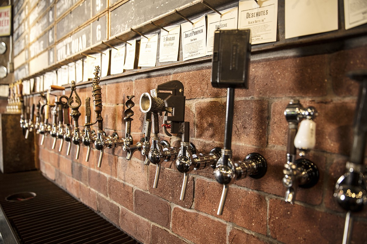 The beer tap wall at The Hay Merchant