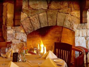 fireplace dining at Rainbow Lodge