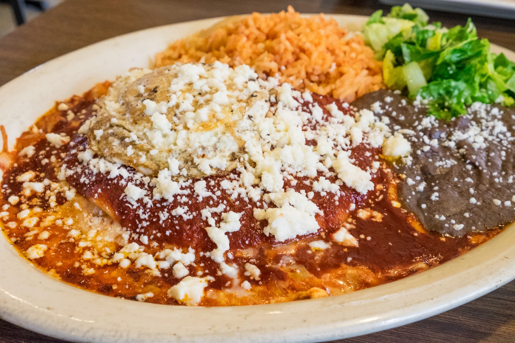 Enchiladas Rojo at Habanera & The Guero