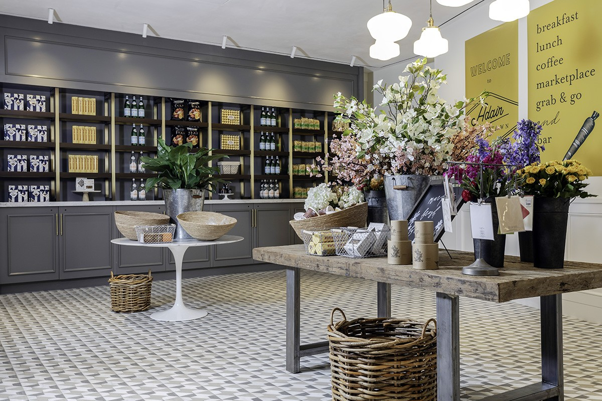 Gifts and fresh flowers in the grab-and-go market section of Adair Downtown