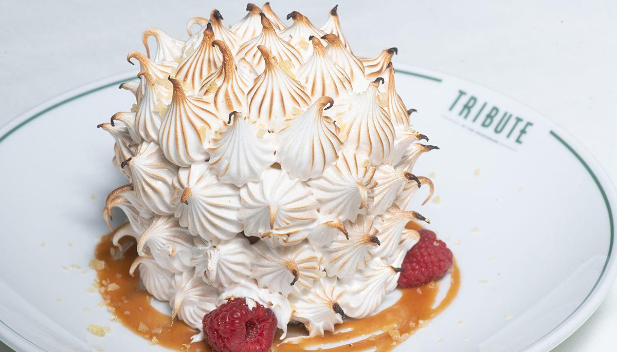 Picture of a massive Baked Alaska dessert.