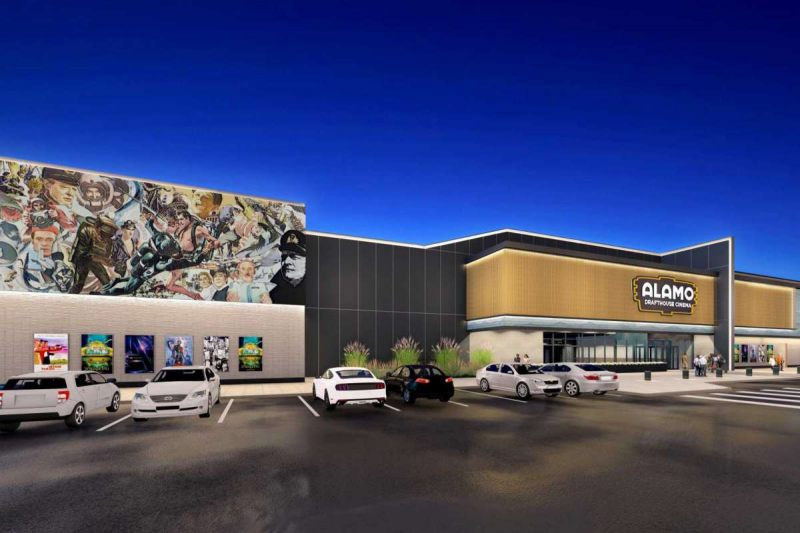 A rendering of the forthcoming Alamo Drafthouse Cinema in League City