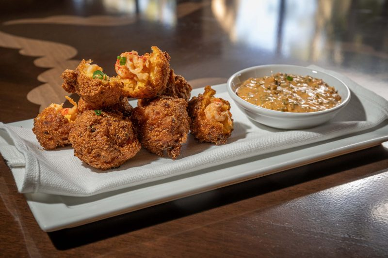 crawfish hushpuppies with chorizo aioli
