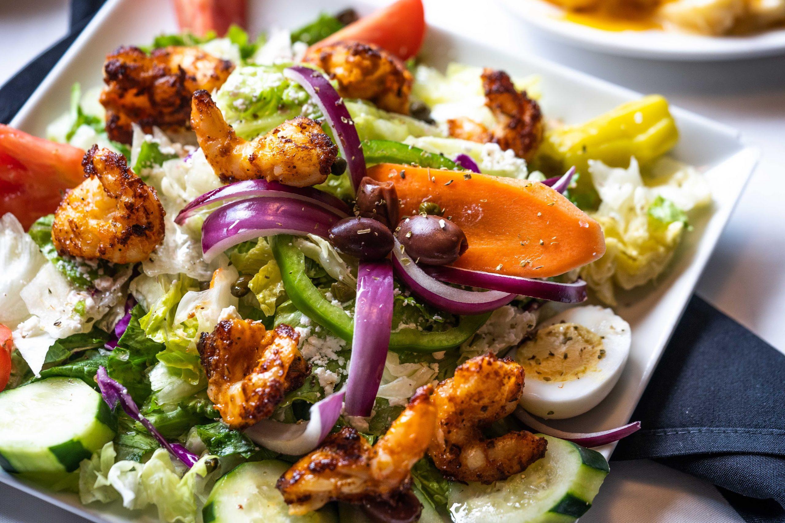 The Blackened Shrimp Salad at Christie's Seafood & Steaks