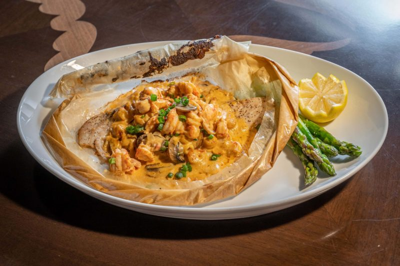 Pompano en Papillote with crawfish