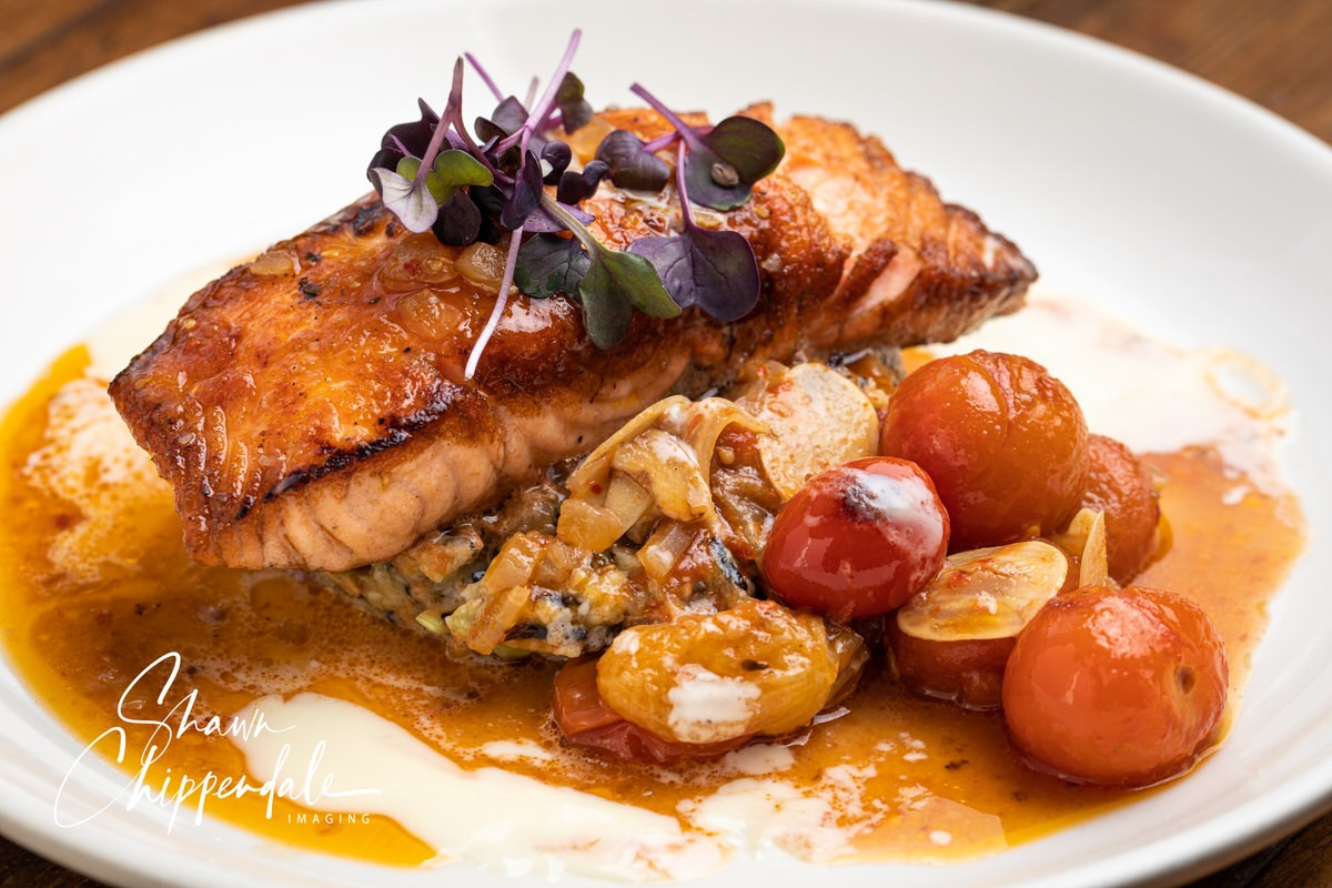 Seared salmon at Roost in Montrose