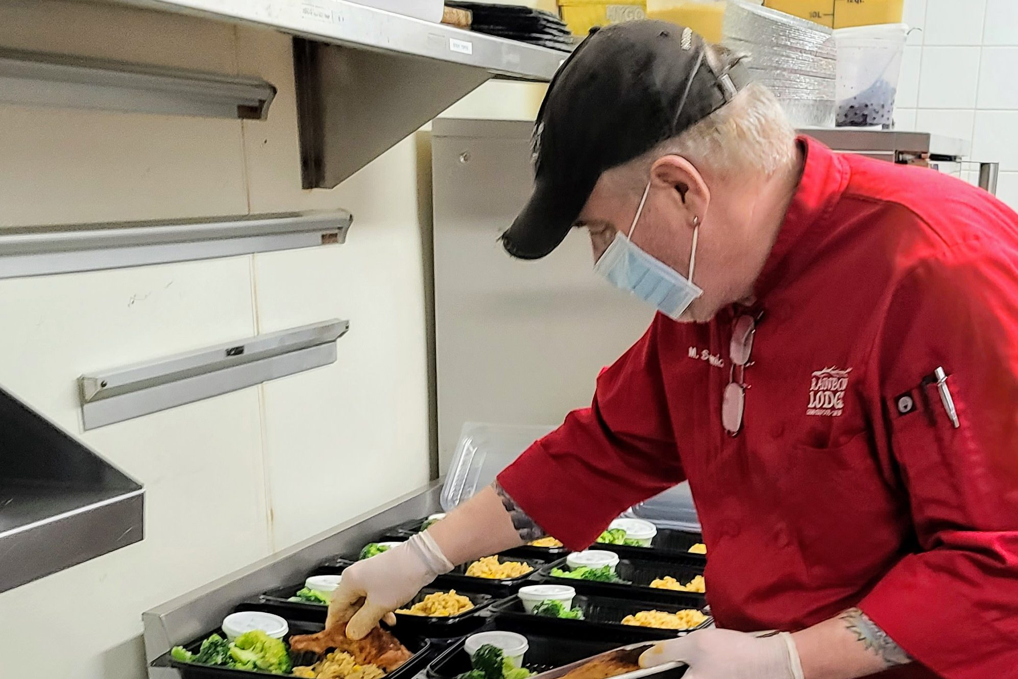 Chef Mark Schmidt of Rainbow Lodge plates meals to be distributed to unemployed hospitality members via Houston Shift Mea