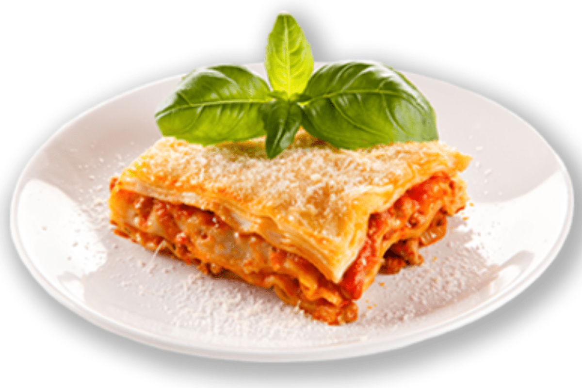 single serving of lasagna
