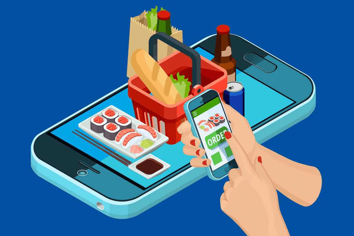 Drawing of phone with food popping up and hands ordering from another phone