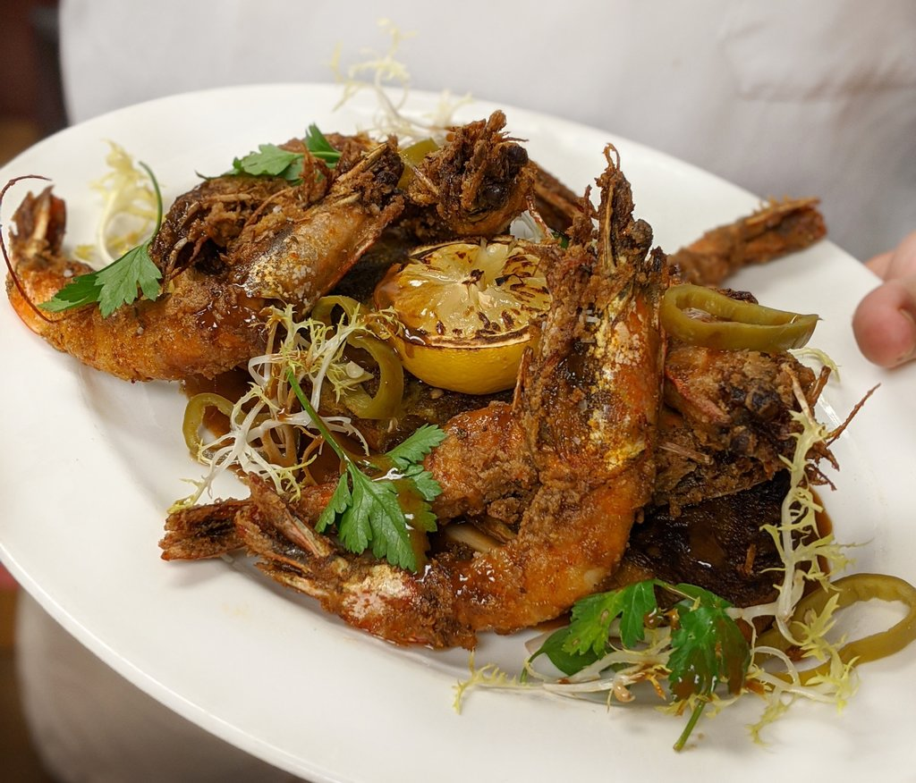 Photo of a plate of barbecue shrimp