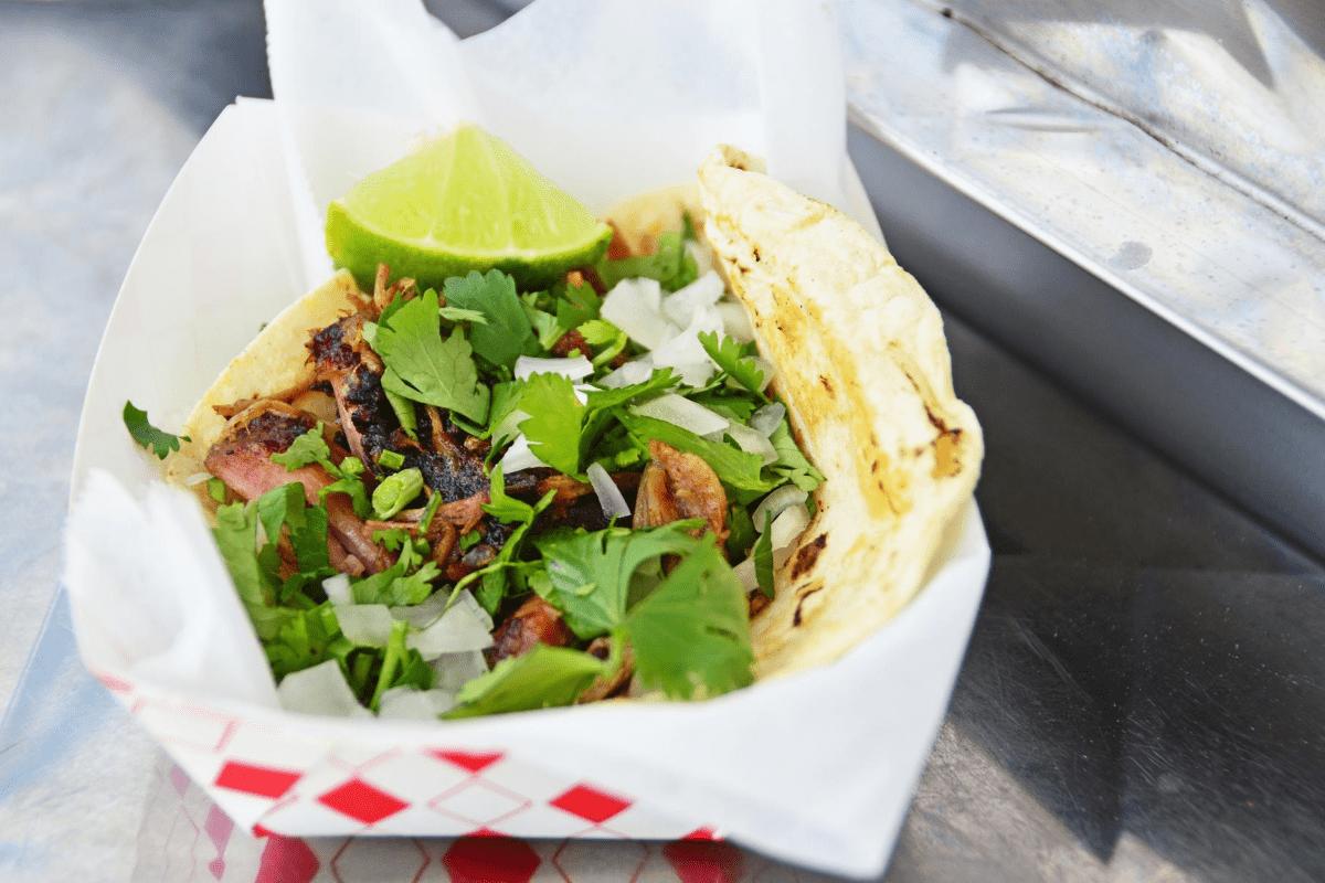 smoked pork taco