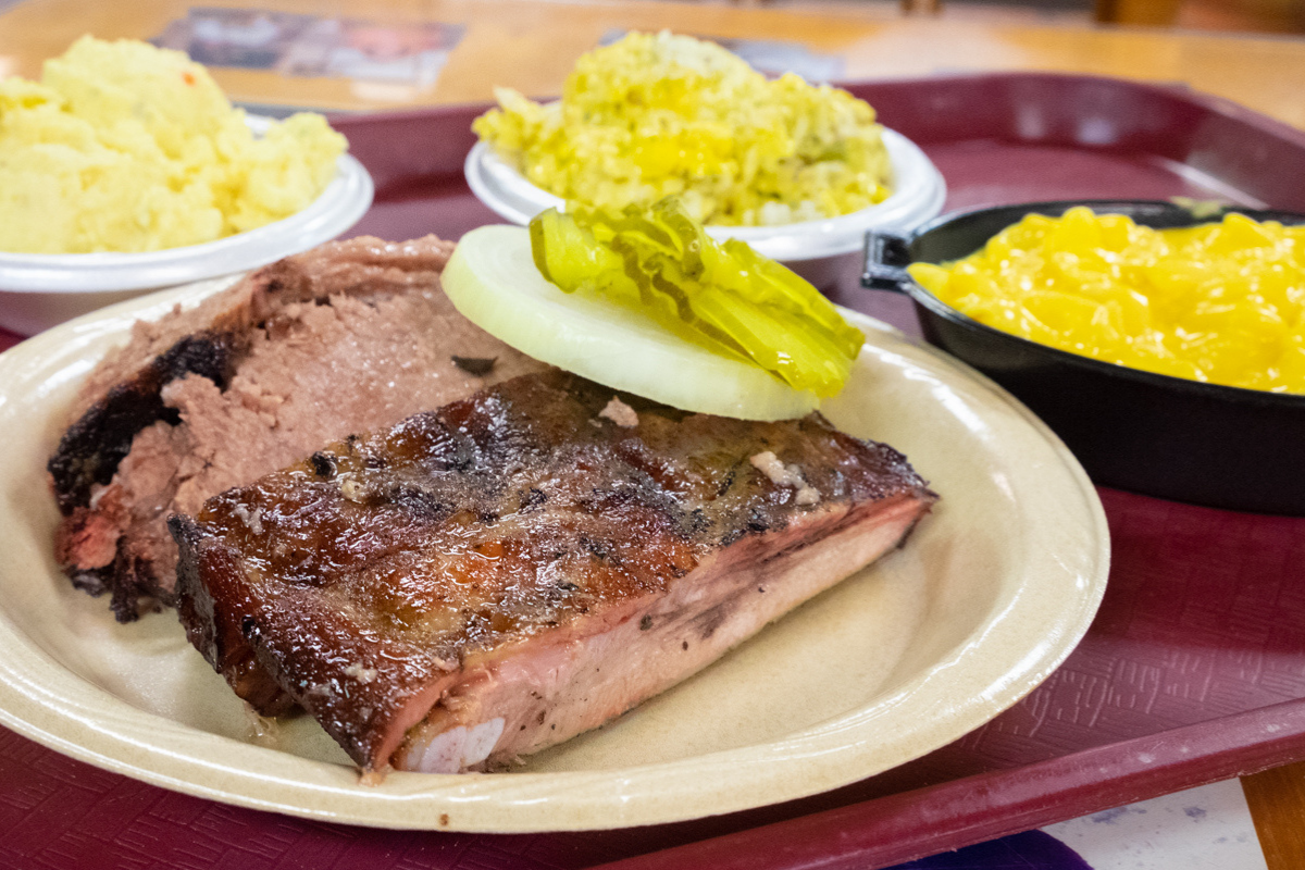 BBQ plate with two meats and two sides