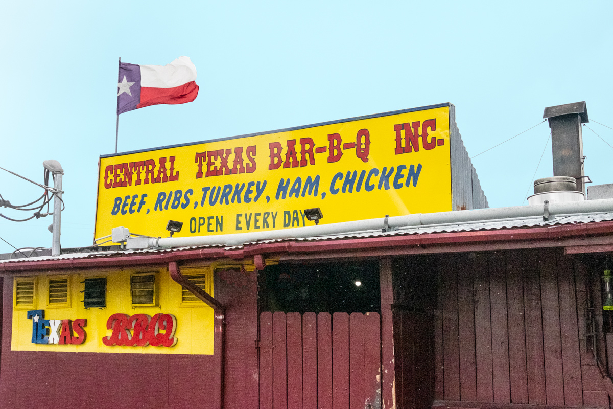 Central Texas barbecue sign