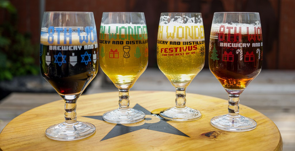 8th Wonder Brewery's ugly sweater beer glasses