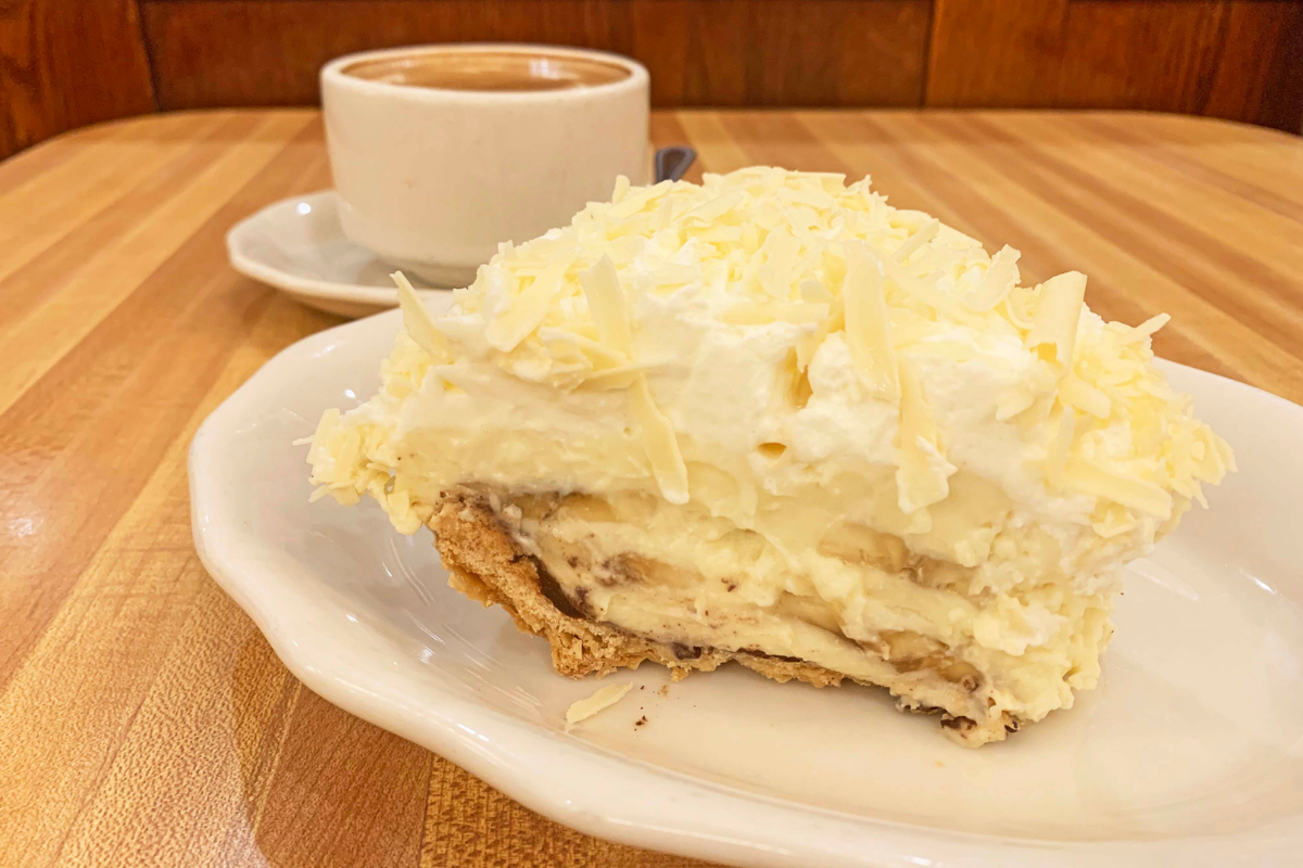 slice of banana cream pie & coffee