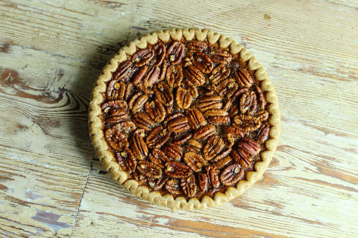 overhead view of whole pecan pie